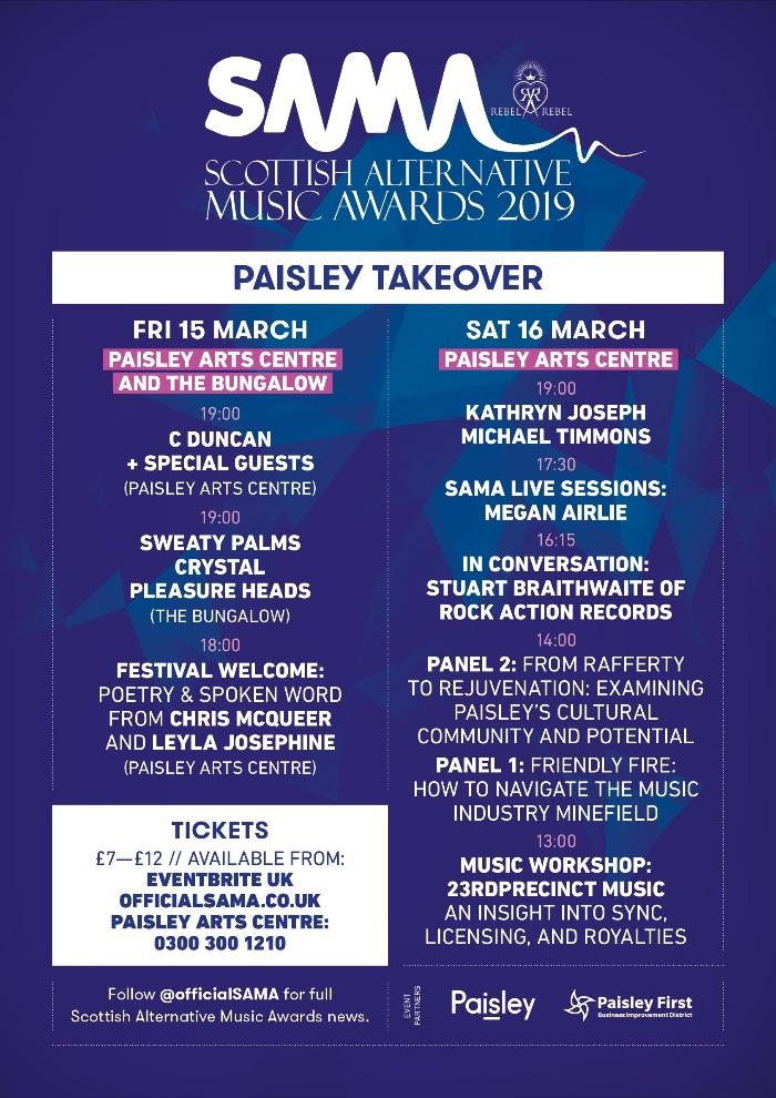 Scottish Alternative Music Awards (SAMAs) unveils full Paisley Takeover programme!